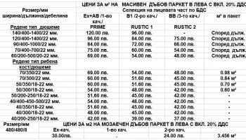 Таблица-цени-паркет-и-дюшеме-дъб - 1